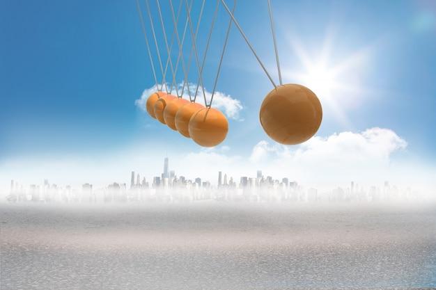 Niutonach kołyska nad miastem na pustyni