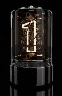 Nixie tube wskaźnik zbliżenie cyfra 1 jeden numery w stylu retro na czarnym tle renderowania 3d