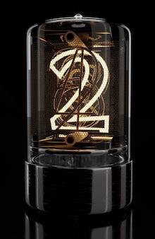 Nixie tube wskaźnik zbliżenie cyfra 2 dwa numery w stylu retro na czarnym tle renderowania 3d