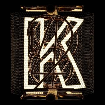 Nixie wskaźnik rurki zbliżenie litera k alfabet w stylu retro na czarnym tle renderowania 3d