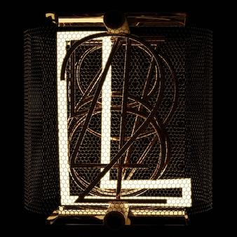 Nixie wskaźnik rurki zbliżenie litera l alfabet w stylu retro na czarnym tle renderowania 3d