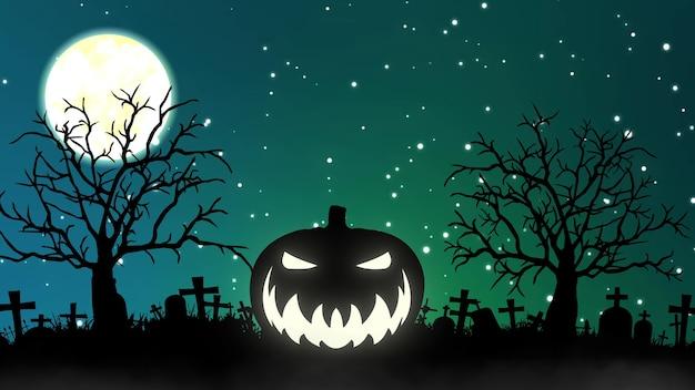 Noc halloween tło. dynia i latające nietoperze festiwal noc halloween. renderowanie 3d