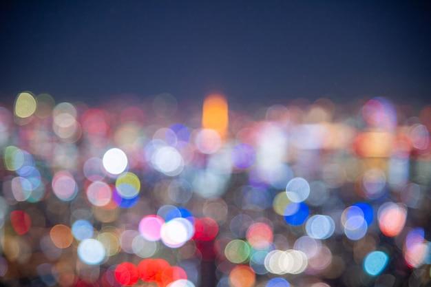 Noc niewyraźne światło bokeh japonia budynek biurowy miasta, abstrakcyjne tło