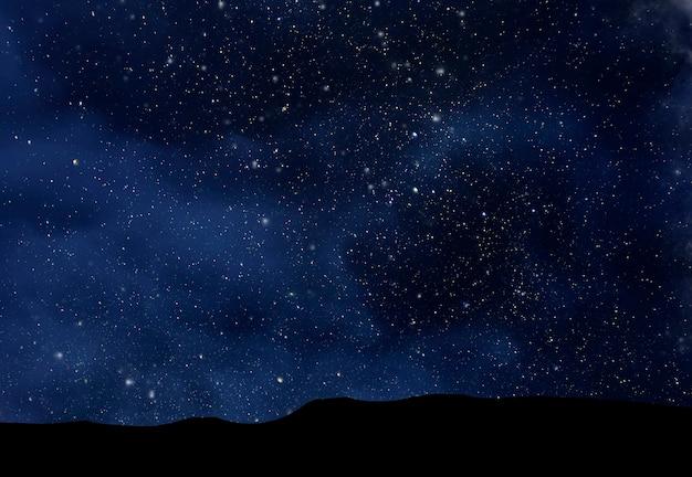 Nocne niebo gwiaździste, głęboka przestrzeń nad doliną