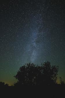 Nocne niebo gwiaździste na tle.