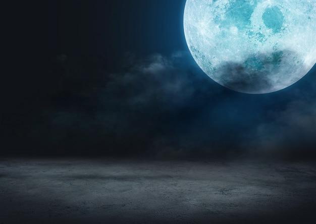 Nocne niebo w tle pełni księżyca i chmur