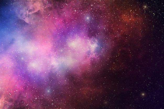 Nocne niebo z gwiazd i mgławicy