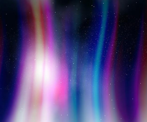 Nocne niebo ze światłami aurora
