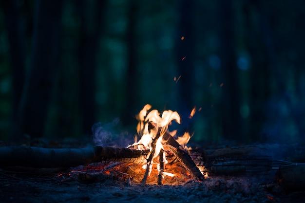 Nocne ognisko w nocy