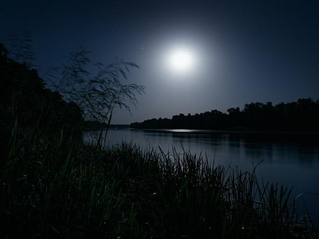 Nocny krajobraz z lasami na brzegu rzeki w świetle księżyca, długa ekspozycja