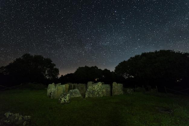 Nocny krajobraz ze starożytnymi prehistorycznymi dolmenami. dolmen z wielkiego dębu.