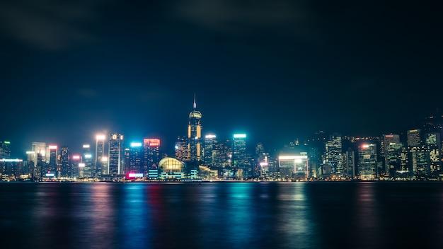 Nocny widok z hongkongu