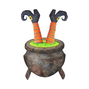 Nogi czarownicy w kocioł ilustracja na białym tle. akwarela halloween clipart. pończochy w pomarańczowo-czarne paski, buty z zakrzywionymi palcami i trujący kociołek.