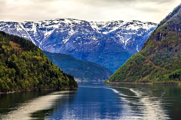 Norweski krajobraz: morze północne i fiord