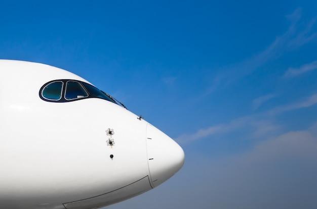 Nos i kokpit pilotów samolotów na błękitnym jasnym niebie