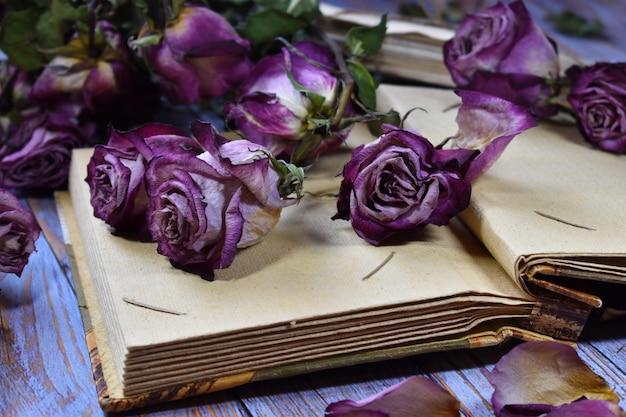 Nostalgiczny tło nastrój vintage. suche ozdobne fioletowe pączki róży i stare litery.