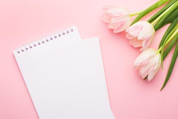 Notatnik biały i wiosenne kwiaty różowe tulipany na różu