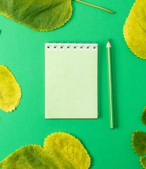 Notatnik na zielonym tle