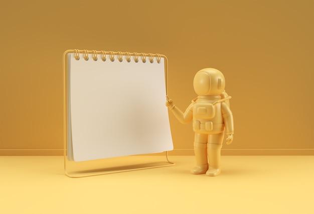 Notatnik renderowania 3d makieta z astronautą wskazującym palcem do projektowania i reklamy, ilustracja 3d widok perspektywiczny.
