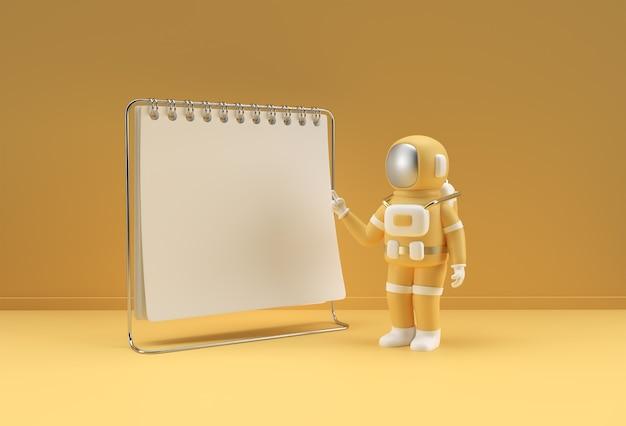 Notatnik renderowania 3d makiety z astronautą wskazującym palcem do projektowania i reklamy,