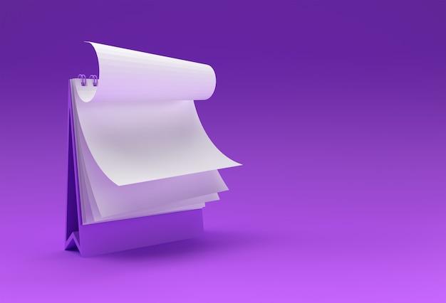 Notatnik renderowania 3d makiety z czystym pustym miejscem do projektowania i reklamy, widok perspektywiczny ilustracji 3d.