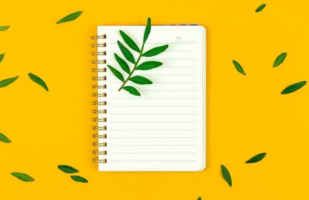 Notatnik w liniach z zielonymi liśćmi, płaska makieta tła wiosny do projektowania stron internetowych, zdjęcie