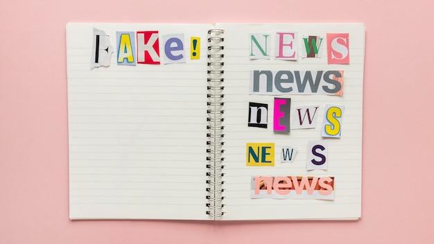 Notatnik z fałszywymi wiadomościami