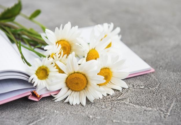 Notatnik z kwiatami rumianku