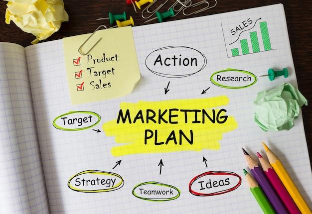 Notatnik z narzędziami i notatkami o planie marketingowym, koncepcja