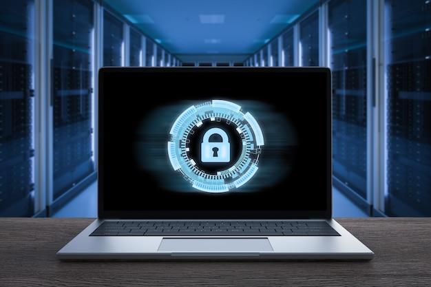 Notebook komputerowy renderujący 3d z blokadą klawiatury dla bezpieczeństwa online