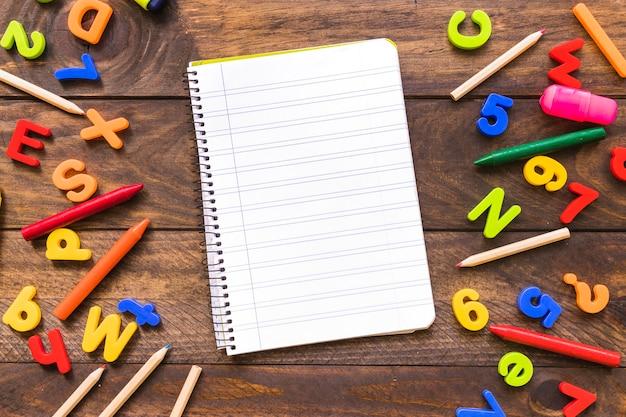 Notebook wśród postaci i narzędzi do pisania
