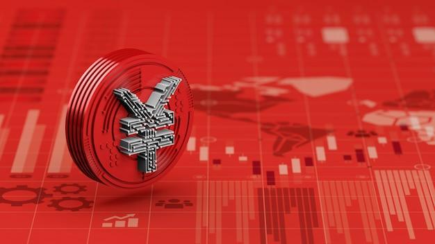 Nowa cyfrowa waluta yuan w chinach na czerwonym wykresie wykresu gospodarki