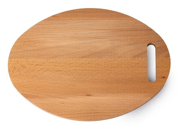 Nowa drewniana deska do krojenia na białym tle
