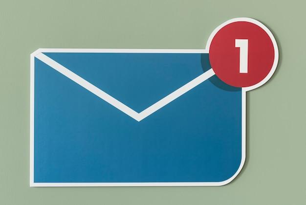Nowa ikona wiadomości e-mail z wiadomością przychodzącą