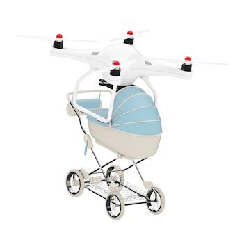 Nowa koncepcja urodzenia dziecka. air drone dostarcza nowoczesny niebieski wózek dziecięcy, wózek, wózek na białym tle. renderowanie 3d