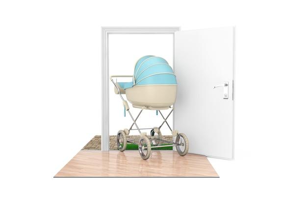 Nowa koncepcja urodzenia dziecka. nowoczesny niebieski wózek dziecięcy, spacerówka, wózek przechodzi przez drzwi do domu na białym tle. renderowanie 3d