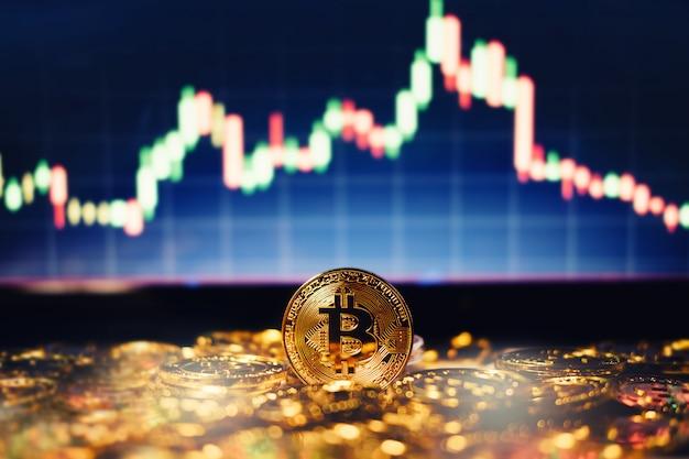 Nowa koncepcja wirtualnych pieniędzy, gold bitcoins (btc) to cyfrowa kryptowaluta wykorzystująca blockchain technologia dla transakcji finansowych w zmianie świata