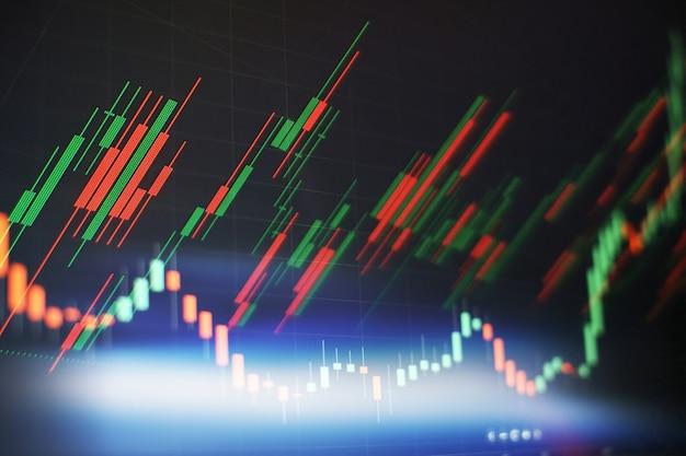 Nowa nowoczesna strategia komputerowa i biznesowa jako koncepcja. schemat finansowy z wykresem świecowym wykorzystywany w analizie rynku do raportu zmian kursu akcji