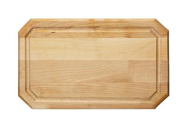 Nowa prostokątna drewniana deska do krojenia na białym tle. widok z góry. makieta do projektu żywności.
