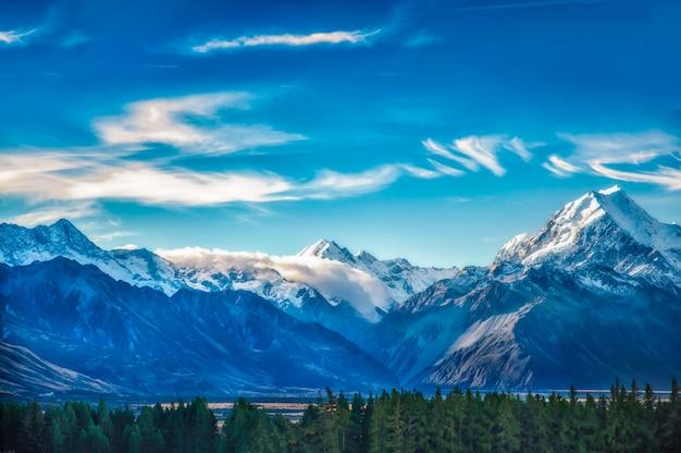 Nowa zelandia sceniczny krajobraz górski strzał w mount cook national park.
