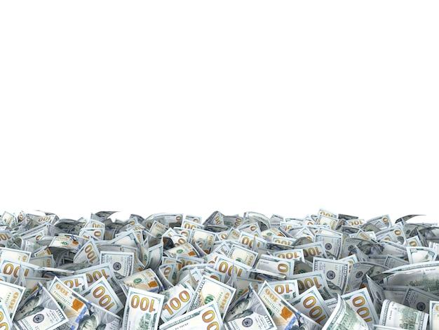 Nowe banknoty dolarów na ziemi na białym tle