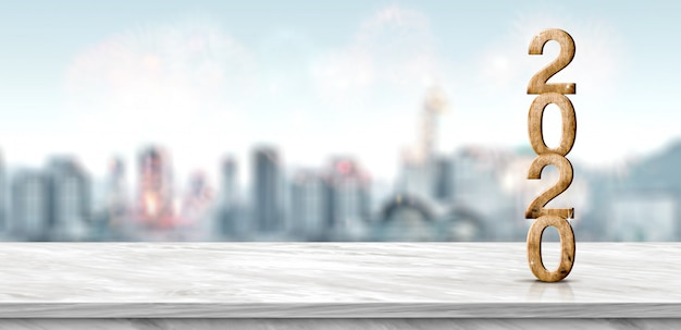 Nowego roku 2020 drewno liczba (3d rendering) na marmuru stole przy plama pejzażu miejskiego bokeh abstrakcjonistycznym fajerwerkiem