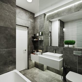 Nowoczesna aranżacja łazienki z płytkami pod beton i falą