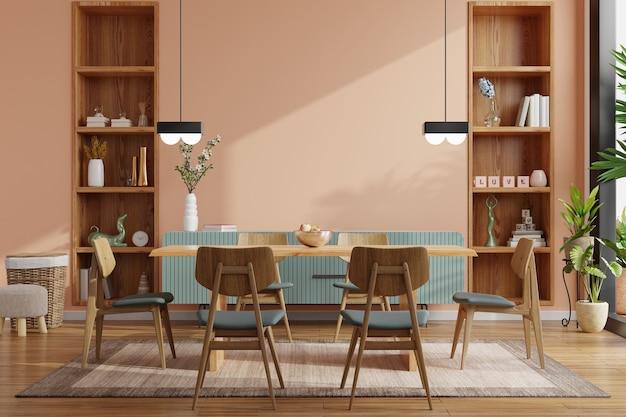 Nowoczesna aranżacja wnętrza jadalni ze ścianą w kolorze ciemnego kremu. renderowanie 3d