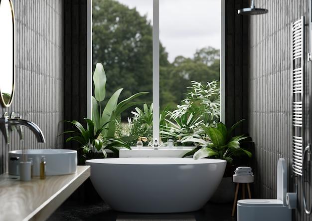 Nowoczesna aranżacja wnętrza łazienki na ciemnej ścianie, renderowanie 3d