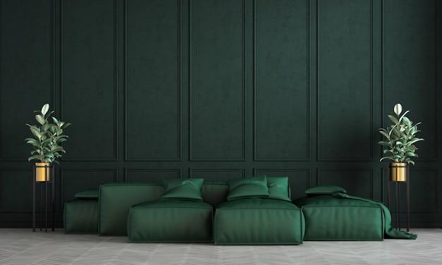 Nowoczesna aranżacja wnętrza salonu i salonu i zielone tło wzór ściany