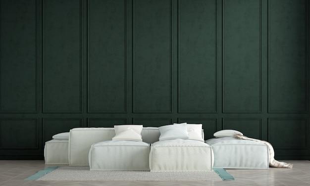Nowoczesna aranżacja wnętrza salonu i zielona ściana w tle i biała sofa