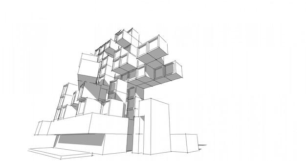 Nowoczesna architektura w pięknej metropolii. odręczna kreskowego rysunku ilustracja, 3d ilustracja.