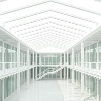 Nowoczesna biała przestrzeń biurowa renderuje 3dtutaj naturalne światło z górnego świetlika