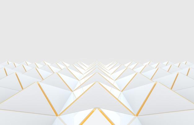 Nowoczesna biała trójkąt siatka ze złotą krawędzią wzór podłogi na szarym tle.